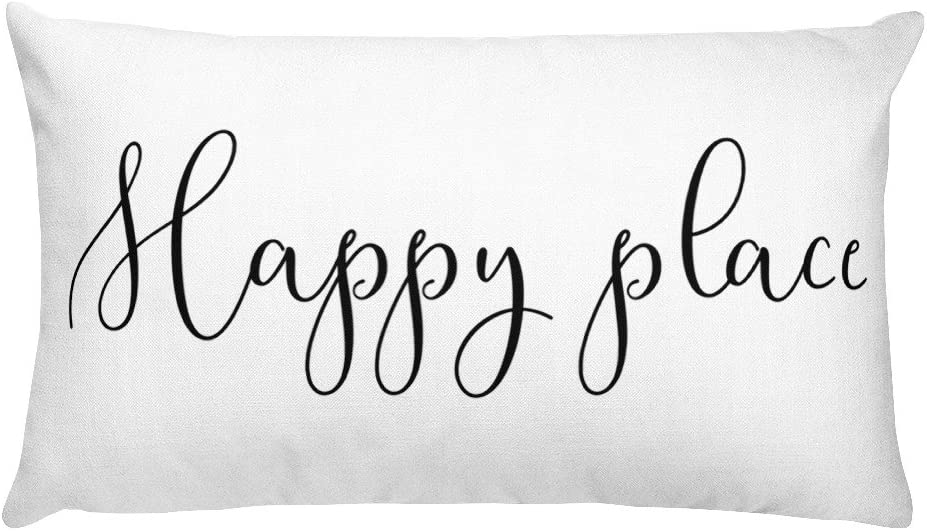 MazyMagoo Happy Place Pillow   Teen Girl Room Decor   Teen Room Furniture   Kids Room Decor   Guest Room Pillow   Welcome   Housewarming Gift