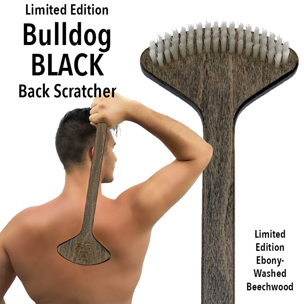 THE BULLDOG Black Back Scratcher with Limited Edition Ebony Stain, Brush Scratcher Skin Stimulator for Itch Relief and Pleasure, Best Gift for Men and Women (Black) by The Bulldog
