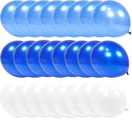 PartyWoo Globos Azules y Blancos, Globos 100 Unidades de 12 Pulgadas Paquete de Globos Azul Claro Globos Azules y Globos Blancos para Decoracion ...