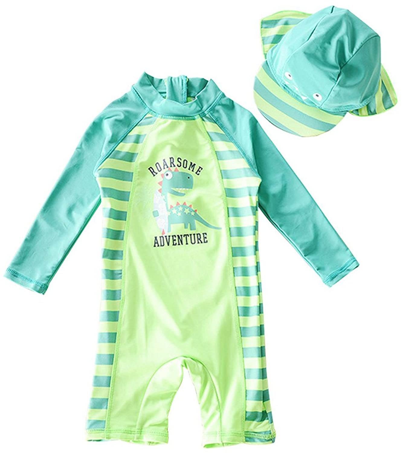 73a9a6c0fd Perfect Fit: 5 size for 1-2/2-3/3-4/4-5/5-6 years old boy. ☆ Super Cute:  Cartoon Dinosaur Print,One-piece Swimsuit Lightweight, Soft, Quick-drying,  ...