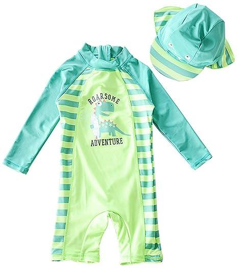 46b6cc97a1 Yober Baby/Toddler Boy Swimsuit Rash Guard Swimwear Two Piece Short  Sleeve(Green Dinosaur
