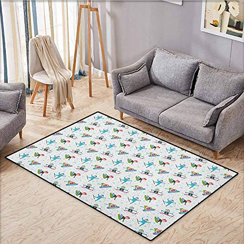 Skid-Resistant Rug,Winter,Snowboard and Ski Sports Pattern with Snowflakes Background Cartoon Drawing Style,Anti-Static, Water-Repellent Rugs,4'11