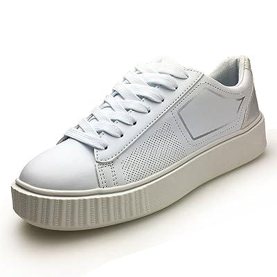 XiaoYouYu PU Leather Fashion Sneakers for Women Platform Design Lace Up Running Shoes AAX002 White, 8.5 B(M) US | Fashion Sneakers