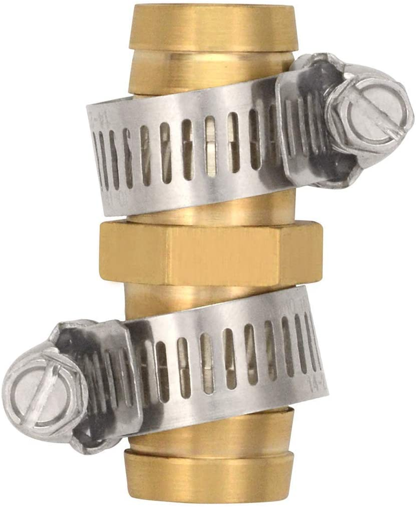 Hanobo 5 Pack Brass Pipe Tubes of Metal 3/4 Inch Garden Water Hose Repair Mender Connector with Stainless Clamp