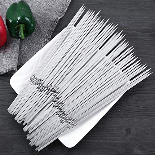 Shoppy Star 10 20 30 pcs BBQ Sticks Needle Stainless Steel Flat Barbecue Forks Picnic Tool Skewers Utensil Cooking Iron Kitchen Meat Holder: 10 pcs 33cm
