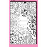 Coloring Journal (pink): Therapeutic journal for writing, journaling, and note-taking with coloring designs for inner peace, calm, and focus (100 pages, college ruled)