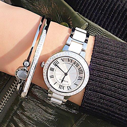 MAMONA Women's Quartz Watch Bracelet Gift Set Crystal Accented Ceramic/Stainless Steel White L68008SRGT