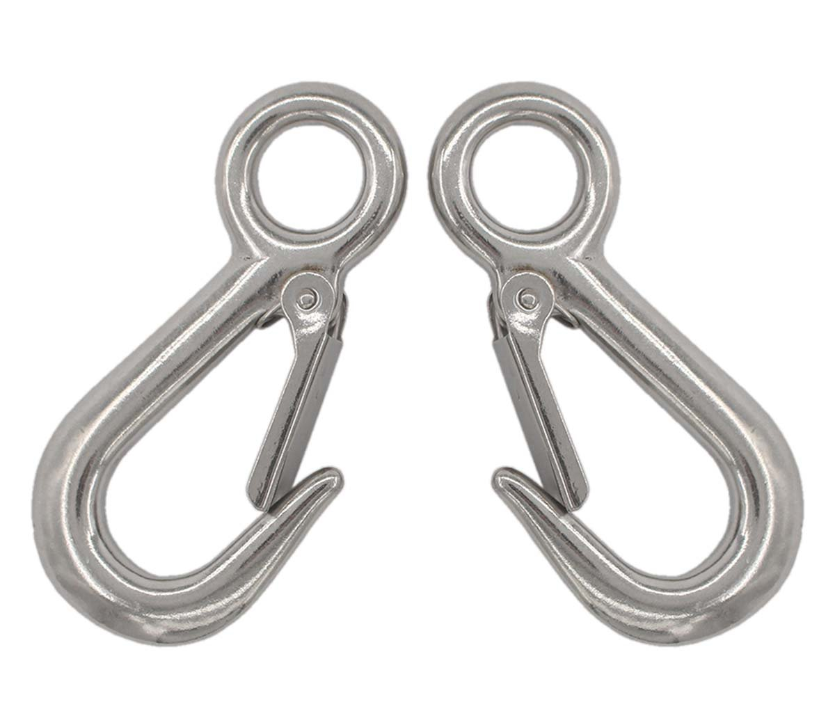 2pcs 316 Stainless Steel Fast Eye Safety Snap Hooks, 4'' Long, 3/4'' Eyelet Compatible with Fasteners & Hardware