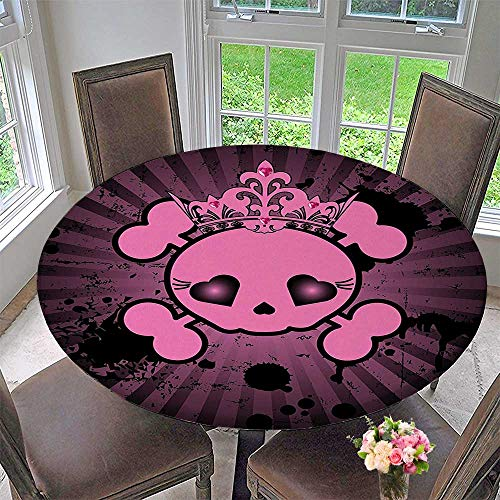 Mikihome Picnic Circle Table Cloths Skull with Crown