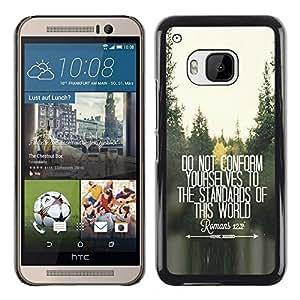 Planetar® ( Do Not Conform Inspiring Free Quote ) HTC One M9 Fundas Cover Cubre Hard Case Cover