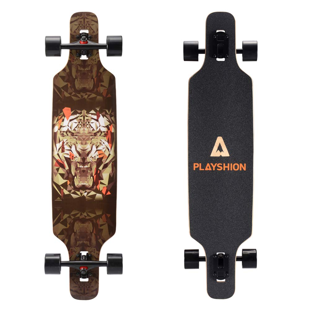 Playshion 39 Inch Drop Through Freestyle Longboard Skateboard Cruiser Tiger by Playshion