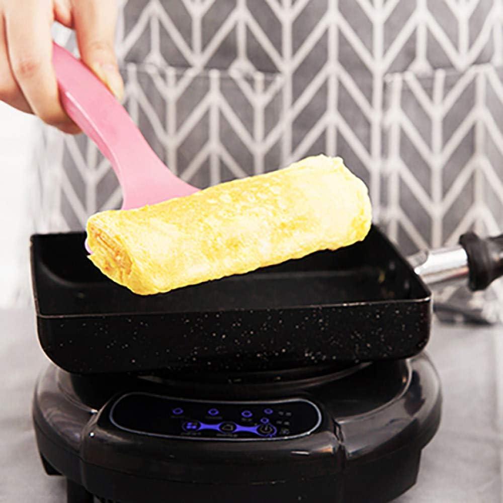 Lku Poêle à frireLKU Pancake Egg Square Pot antiadhésif poêle à crêpes avec spatule Brosse poêle Barbecue Accessoires de Cuisine, Rose Noir