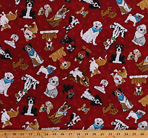 Cotton Dogs Funny Animals Pets Dog Breeds Canine Home is Where The Dog is Red Cotton Fabric Print by The Yard (D682.55)