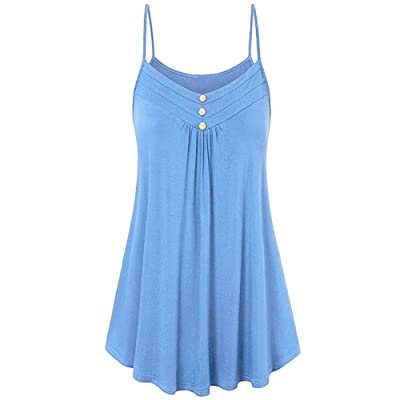 VANSOON Women's Summer Button V Neck Pleated Spaghetti Strap Camisole Tank Tops T-Shirt Camisoles Tank Tunic Shirts Blouses: Clothing