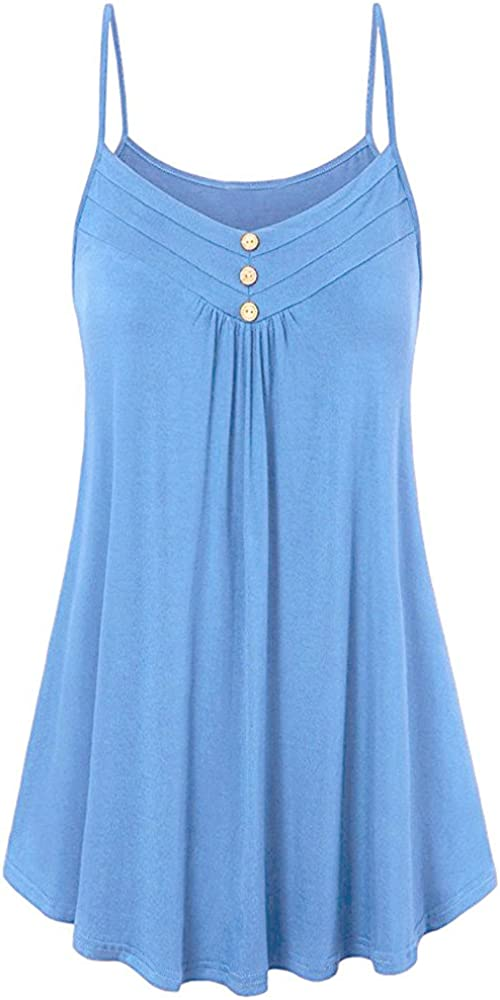 ANJUNIE Womens V-Neck Lace Button Tank Tops Solid Loose Sleeveless T Shirts Blouse Comfy Tee