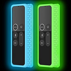 2Pack Silicone Protective Case Compatible for Apple TV 4K 5th, 4th Gen Remote,Remote Case Holder Skin for Apple TV Siri Remote Control,Shock Absorption Bumper Remote Back Cover -Glowgreen+Glowblue