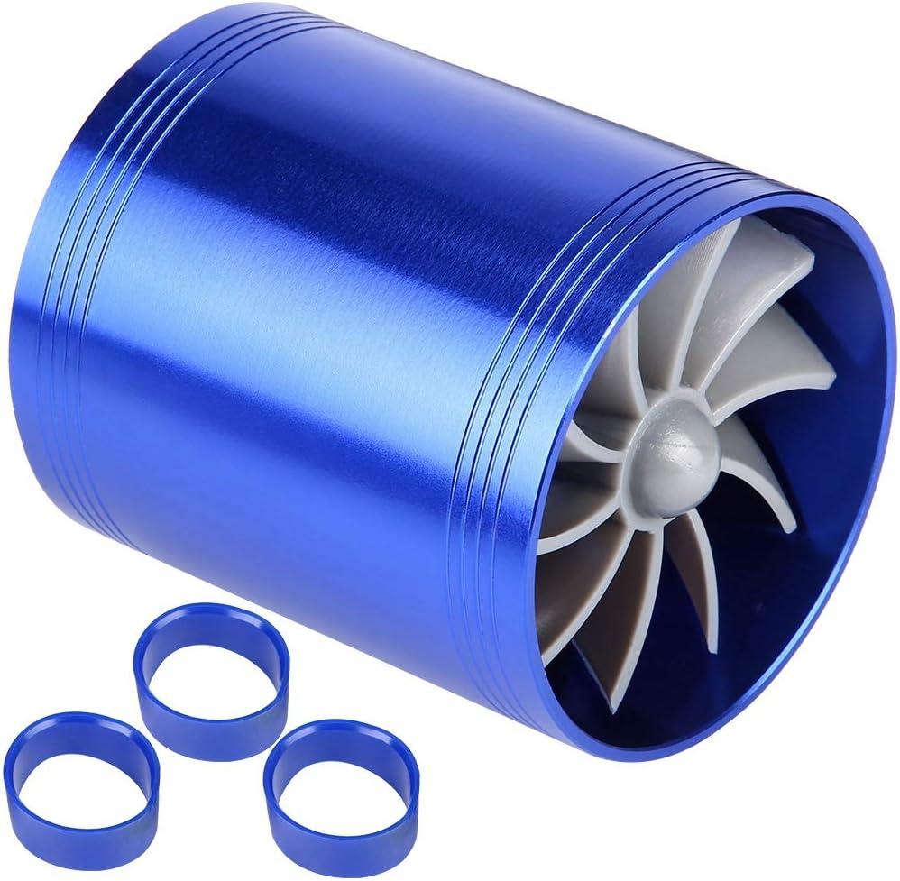 KIMISS Air Intake Turbo Black Car Air Intake Turbonator Dual Fan Turbine Super Charger Gas Fuel Saver Turbo