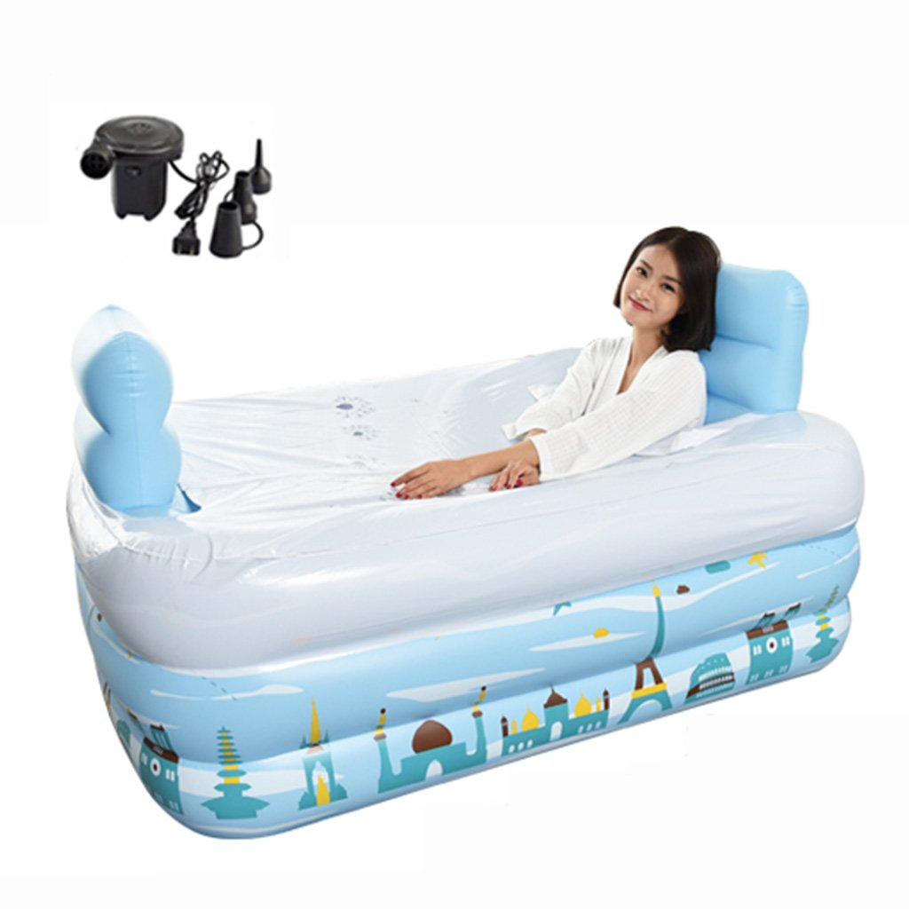 Double people Inflatable bathtub Portable bath tub Adult Folding Pool Adult thickened bath bucket Swimming Pool easy to store Bath barrel Inflatable bathtub ( Color : With cover , Size : Electric pump ) Xi Man Shop
