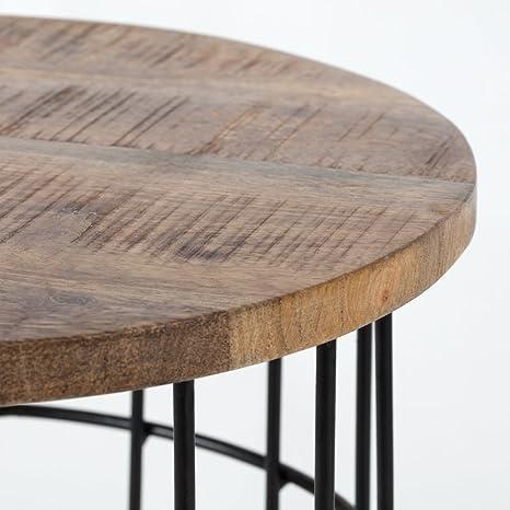 Amazon.com: Auxon - Mesa auxiliar auxiliar de madera de ...