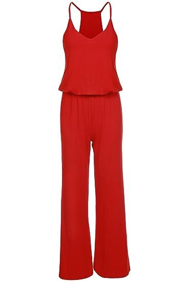 87755eea3b061 CRAVOG Mode Combinaison Pantalon Longue Sans Manche Lâche Jumpsuit A  Bretelle Fines Col V Taille Haut Jambe Large Casual Femme: Amazon.fr:  Vêtements et ...