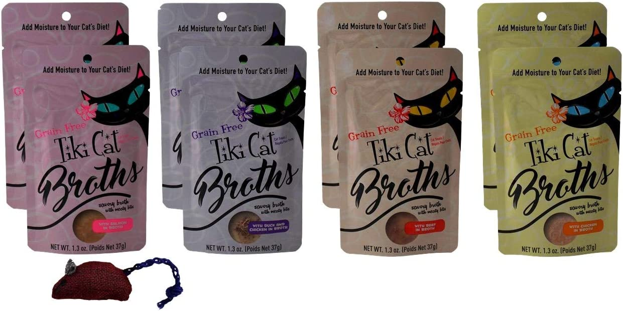 Tiki Cat Grain Free Cat Food Topper Treat Broths 4 Flavor Variety 8 Pouch with Catnip Toy Bundle, 2 Each: Salmon, Duck Chicken, Beef, Chicken (1.3 Ounces)
