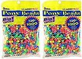 Darice Value Pack Pony Bead, 9mm, Neon Multicolor, 1000-Pack (2 packs)