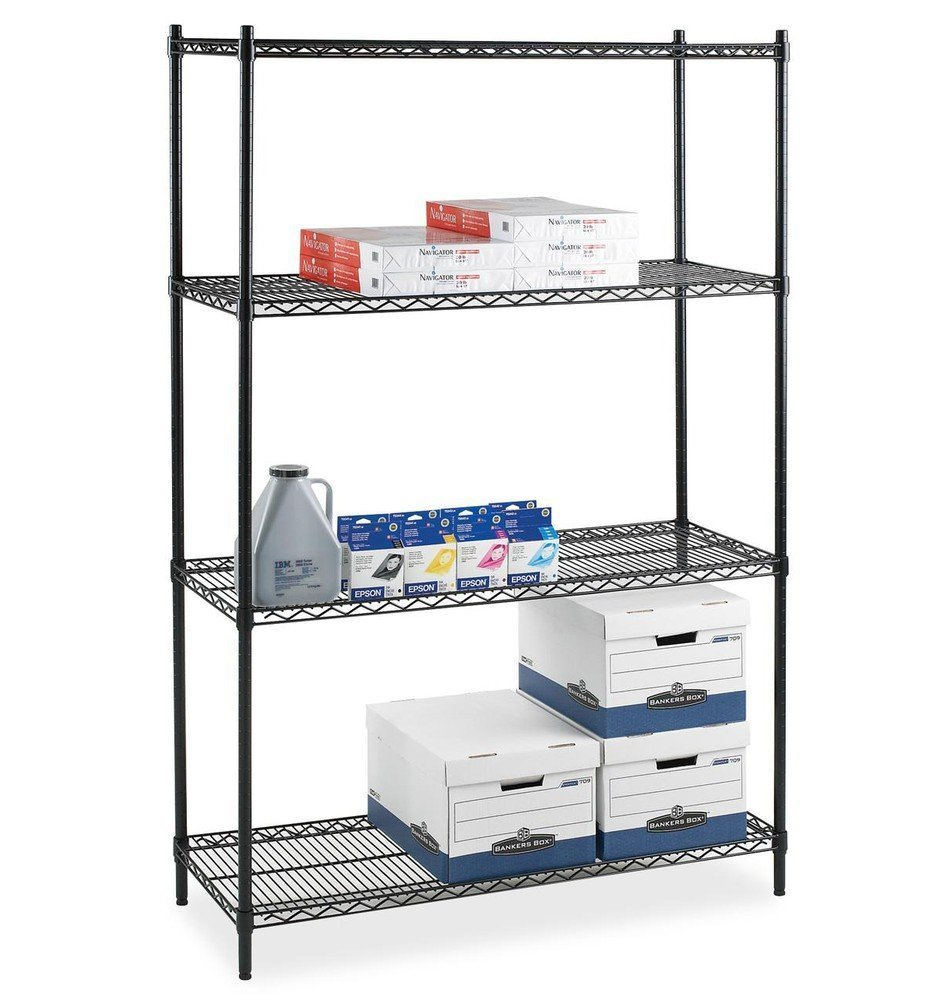 Amazon.com: Lorell Starter Shelving Unit, 4 Shelves/4 Posts, 36 by ...