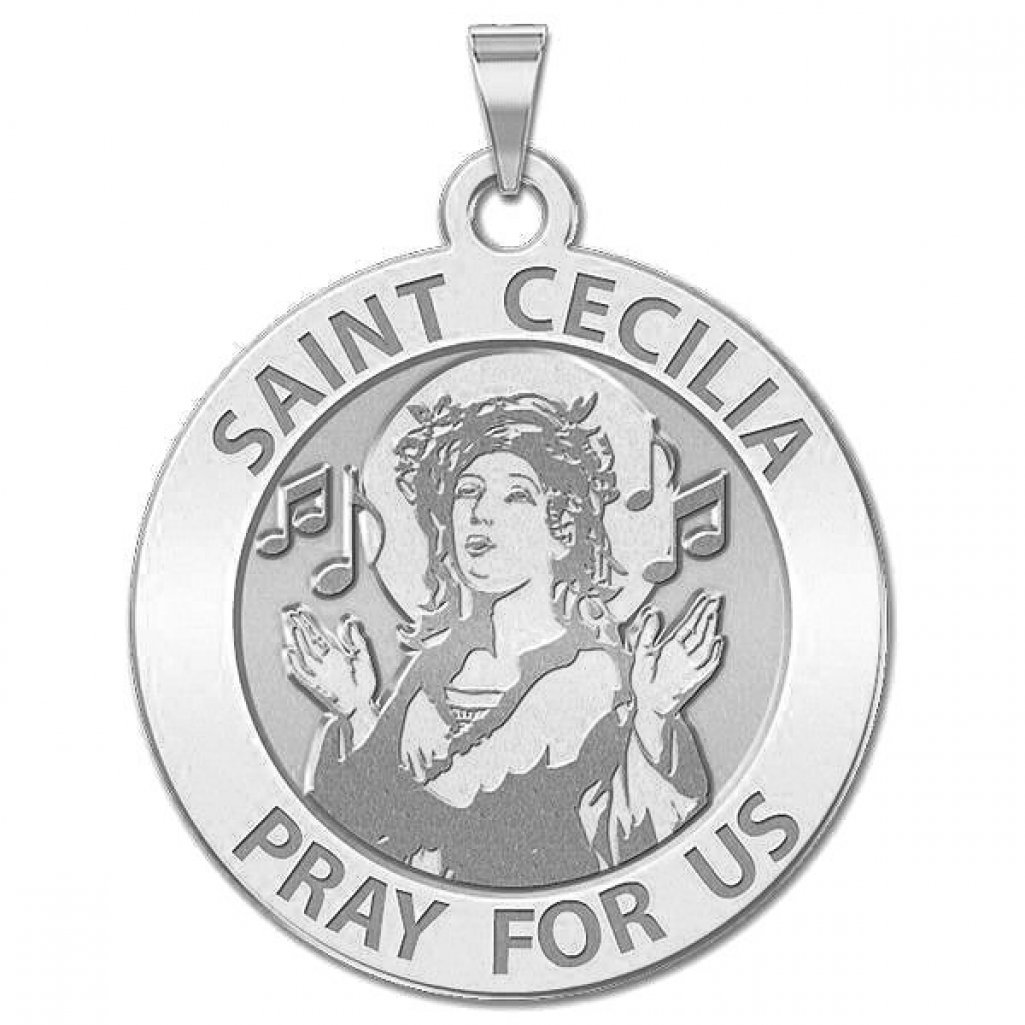 PicturesOnGold.com Saint Cecilia Round Religious Medal 14K Yellow or White Gold or Sterling Silver