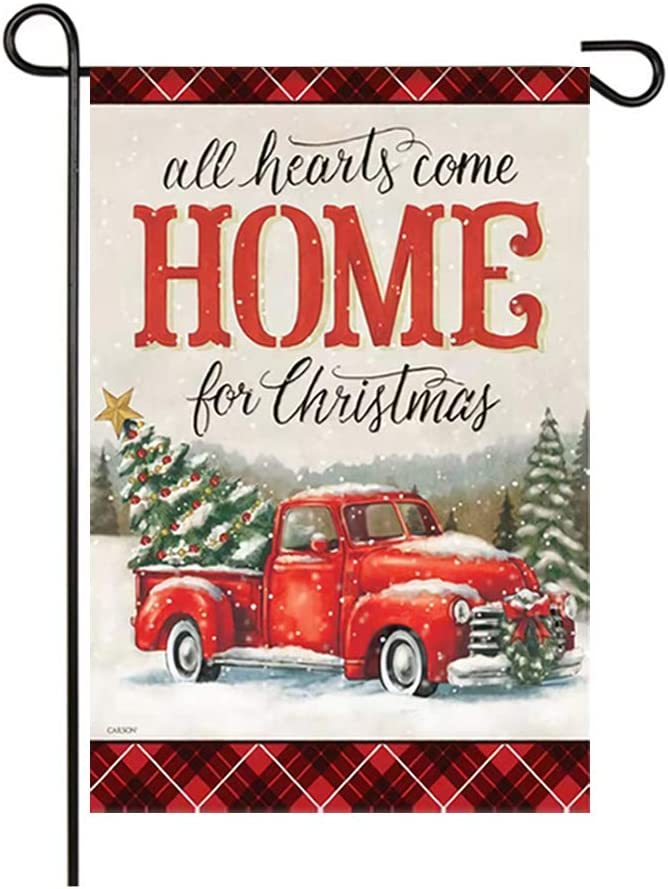 Goaus Merry Christmas Garden Flag,Red Truck Deliver Xmas Tree in Rustic Snowing Winter,Vertical Double Sided Burlap Decorative House Flags for Home Lawn Yard Indoor Outdoor Decor,12 x 18 Inch