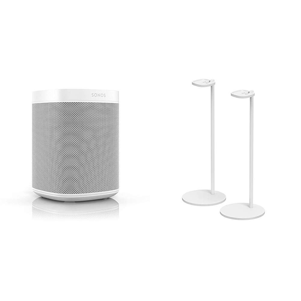 Sonos One (Gen 2) White with Pair of Sonos Stands for One and Play:1 (White)