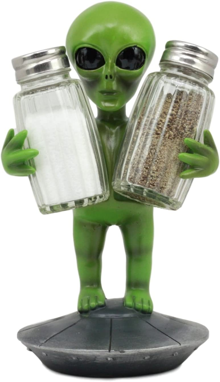 """Ebros UFO Outer Space Colony Extra Terrestrial Green Roswell Alien On Flying Saucer Spaceship Salt And Pepper Shakers Holder Statue 7""""Tall For Kitchen Decor Event Hosting Chef Hobbyist"""