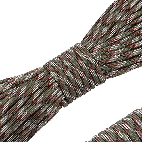 カウンターパート舌な人質パラコード 4mm 31m 9芯 テント ロープ パラシュートコード ミルスペック 耐荷重 250kg(550LB) 定番 迷彩柄 登山用品 キャンプ サバイバル アウトドア タープ用