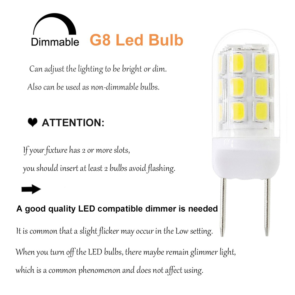 G8 LED Bulbs for Under Counter Kitchen Lighting 5-Pack 30W Halogen Equivalent GY8.6 Dimmable 110V 3W Energy Saving Light Bulbs Puck Light Under-Cabinet Light Warm White