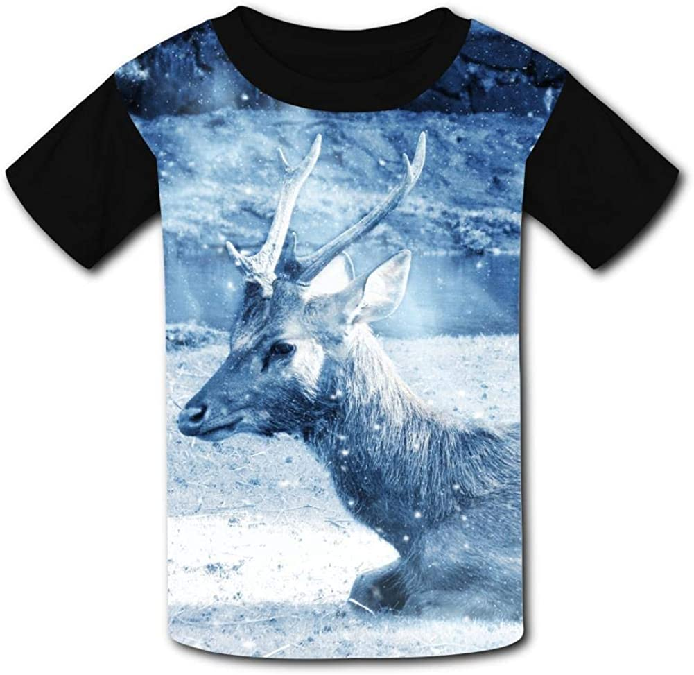 Lcso47 Kids T-Shirt Cold Day Snow Deer 3D Printed Crew Neck Youth T Shirts Tee for Boys Girls Children
