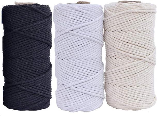 100 m de cuerda de algodón natural hecha a mano para colgar macramé en la pared, para hacer manualidades o tejer, negro, 4MM x 100Meters: Amazon.es: Hogar