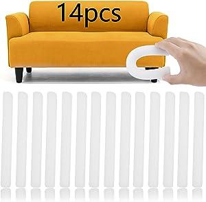 14 PCS Stretch Sofa Slipcover Foam Strip, Non Slip Foam Grips for Couch Slipcovers, Anti-Slip Foam Strip Gap Filler Foam Stick for Couch Slipcovers, Furniture Protector
