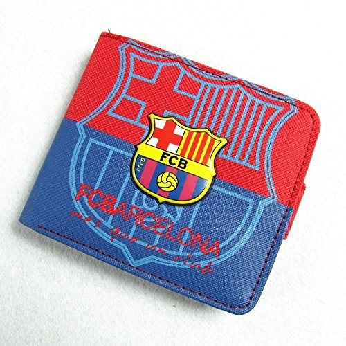 (Barcelona Football Soccer Club 3D Logo Clutch Flap Canvas Wallet Purse Bifold with 6 Card Slots)