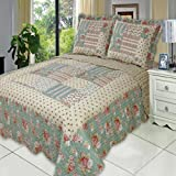7 Piece Annabel FULL Oversize Super Luxurious Wrinkle Free Coverlet / Quilt Bedding Ensemble Set with Pillow Shams and Bonus Bed Sheet Set which includes Flat and Fitted Sheets with Pillow Cases