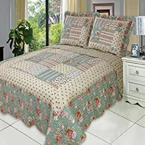 Egyptian Bedding 3 Piece Annabel CALIFORNIA (CAL) KING Oversize Super Luxurious Wrinkle Free Coverlet / Quilt Bedding Ensemble Set with Pillow Shams