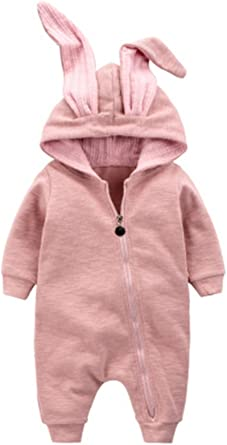 Newborn Baby Girls Winter 3D Rabbit Ears Zipper Hooded Romper Jumpsuit Warm One-Piece Outfit