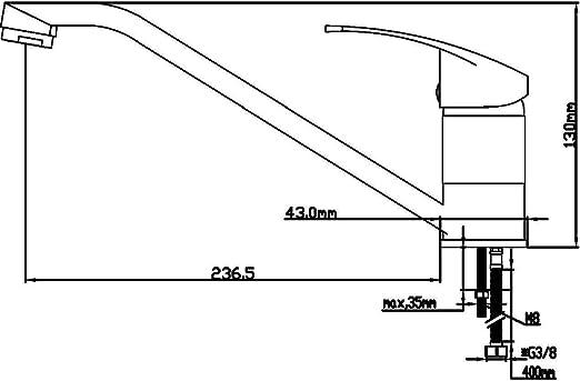 DP Grifería - Grifo monomando de fregadero horizontal modelo ...