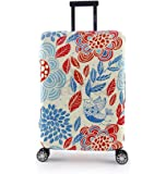 Periea Elasticated Suitcase Luggage Cover - 13 Different Designs - Small, Medium or Large (Red & Blue Leaves, Small)