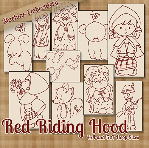 Red Riding Hood Embroidery Machine Designs on CD - 10 Beautiful Patterns - 2 Sizes Each - PES JEF EXP XXX VIP HUS DST