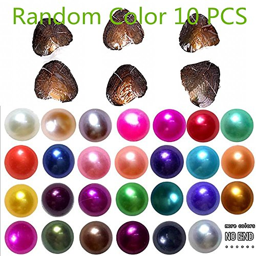 2018-Freshwater Cultured Love Wish Pearl Oyster with Round Pearl Inside 10 Colors (Random Color 10 PCS (Single Pendant Mounting)
