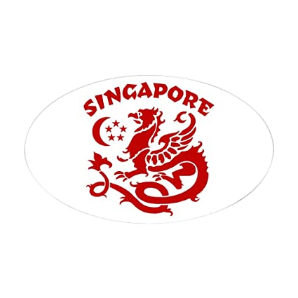 Amazon Com Cafepress Singapore Dragon Oval Sticker Oval Bumper