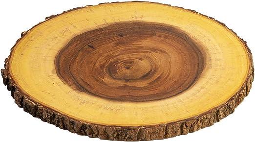 Villa Acacia Live Edge Wood Serving Platter 9 Natural and Organic Raw Bark Edge Single, Medium