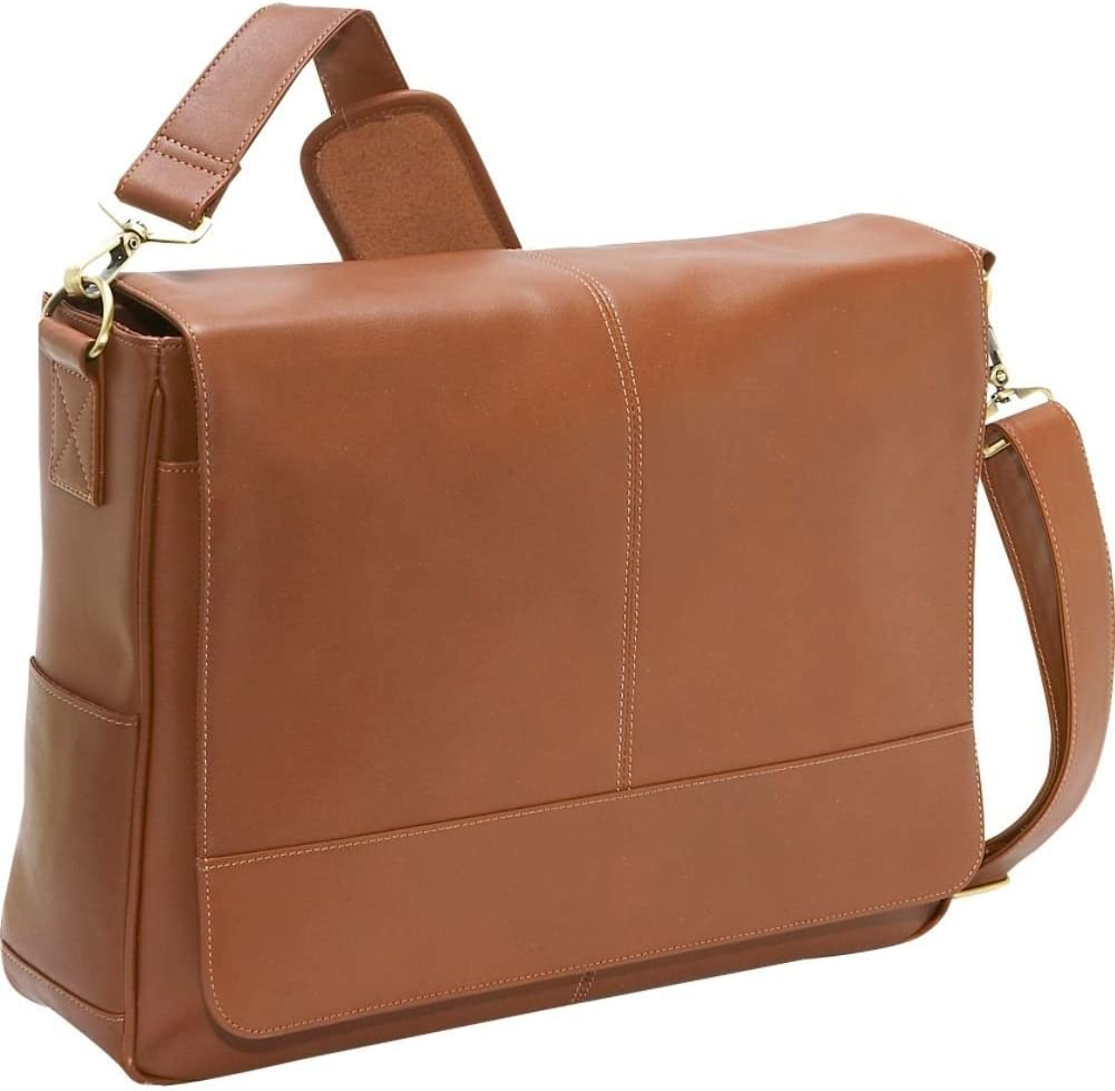 """Royce Leather Executive Suede Lined 15"""" Laptop Messenger Bag Handcrafted in Leather, Tan, One Size"""