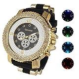 watch luminous dial - Gerosse Mens Gold Watches Crystal Diamond Dial Gold Steel Luminous Quartz Wrist Watch Hip Hop Watch (black white)
