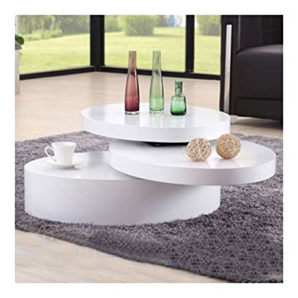 Amazon.com: White Round Coffee Table Rotating Contemporary Modern ...