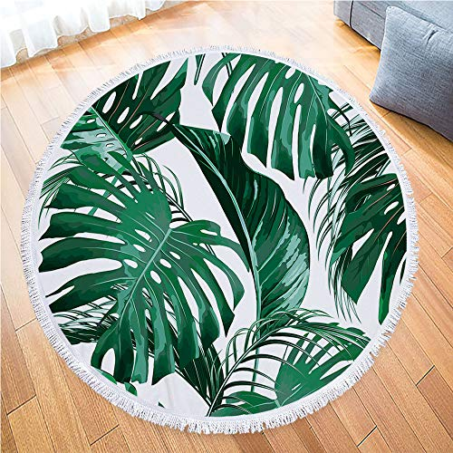 IcosaMro Round Beach Towel Tropical Microfiber Beach Blanket Palm Leaves Large Roundie Lightweight Beach Towel for Kids Women Men Boy Girl,Green 59x59 ()